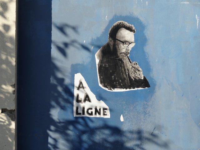 Street Art port de Lorient (collage) : hommage à Josehp Ponthus (à la ligne)